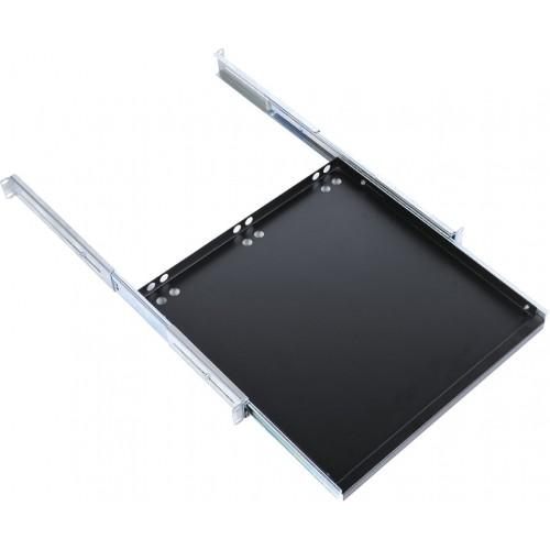 Полка клавиатурная ЦМО ТСВ, выдвижная, 1U, 440х455х25 (ШхГхВ), для шкафов и стоек, с телескопич. направляющими, цвет: чёрный ТСВ-К4-9005