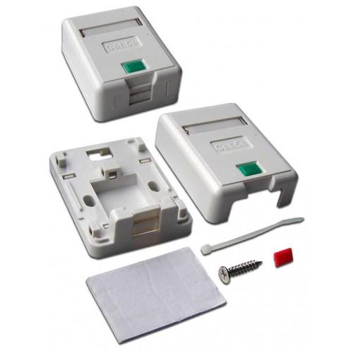 Коробка настенная на 1 порт keystone, с защитными шторками, белая  LANMASTER LAN-SA1/S-WH