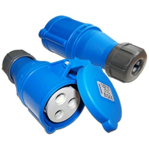 Розетка электрическая кабельная, IEC 309, 32A, 250V, разборная, синяя