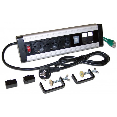 Блок розеток: 3 эл. модуля, 2 USB модуля, 2 порта кат.6 LAN-WA-DC/3G+2UC+2C6