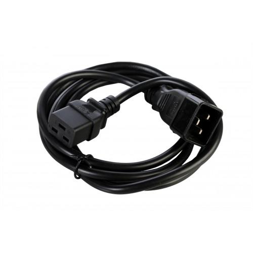 Шнур питания с заземлением IEC 60320 C19/IEC 60320 C20, 16А/250В (3x1,5), длина 1,8 м. R-16-Cord-C19-C20-1.8