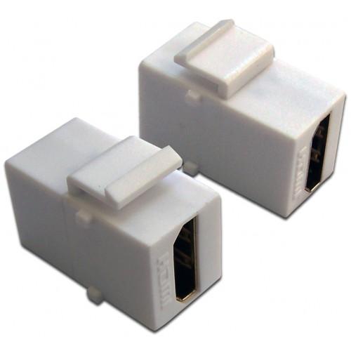 Вставка Keystone HDMI, мама-мама, 180 градусов, белая LAN-OK-HDMI-V-WH