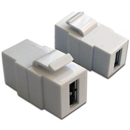 Вставка  Keystone USB 2.0, тип A, мама-мама, 180 градусов, белая LAN-OK-USB20-AA/V-WH