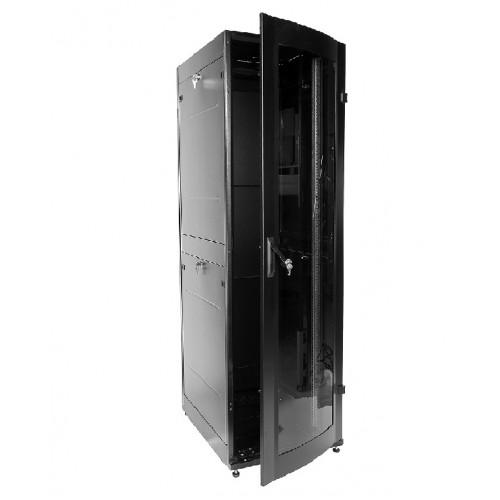 Шкаф телекоммуникационный напольный ЦМО ШТК-МП IP22 42U 1869х600х800 стеклянная дверь задняя дверь металлическая чёрный ШТК-МП-42.6.8-1ААА-9005