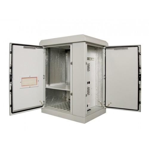 Шкаф уличный напольный, 24U, 800х800, В=1515мм, передняя дверь вентилируемая, боковая дверь металл