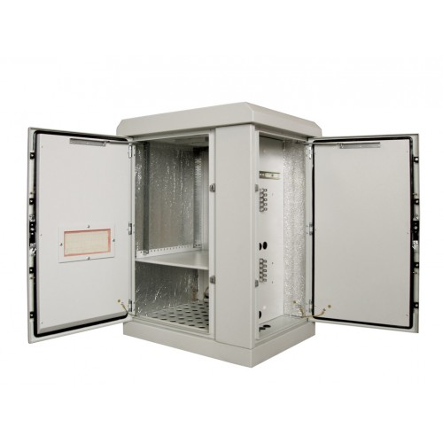 Шкаф уличный напольный, 9U, 800х600, В=845мм, передняя дверь вентилируемая, боковая дверь металл