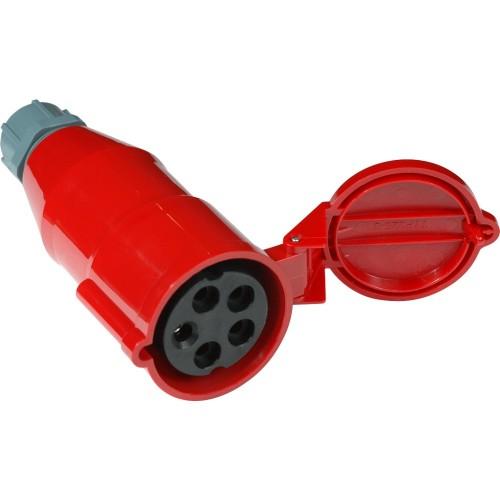 Вилка IEC 309 трехфазная, 32A, 380V, разборная, мама, красная