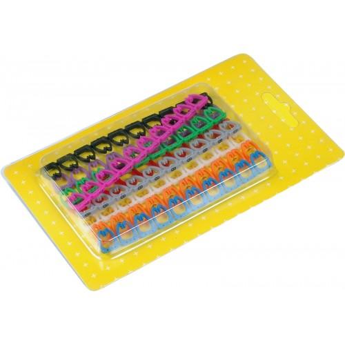 Набор цветных маркировочных кабельных клипс с цифрами, для кабелей диаметром до 6.5 мм LAN-MCC-NUM-SET-C6