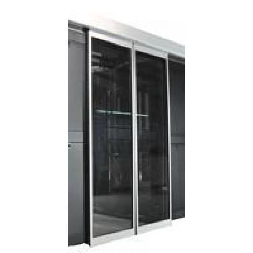 Автоматическая развижная дверь коридора 1200 мм для шкафов LANMASTER DCS 42U, стекло, key-card замок LAN-DC-SDRAL-42Ux12