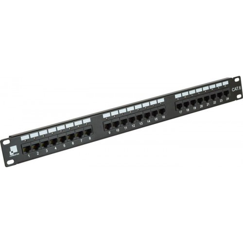 Патч-панель Lanmaster 24 порта с индикаторами, UTP, кат.6, 1U  LAN-PPi24U6