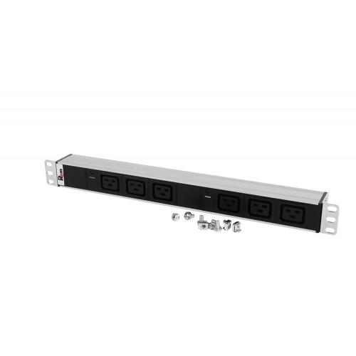 Блок розеток Rem-32 с инд., 6 IEC 60320 C19, 32 А, алюм., 19
