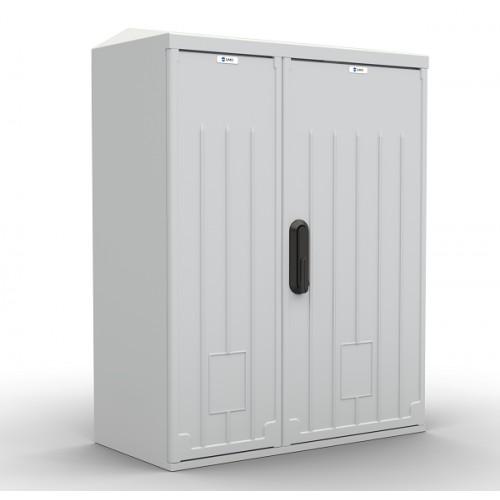 Шкаф уличный всепогодный укомплектованный настенный ЦМО ШТВ-НП, IP65, 12U, 620х660х320 мм (ВхШхГ), цвет: серый ШТВ-НП-12.6.3-8ААА-Т2