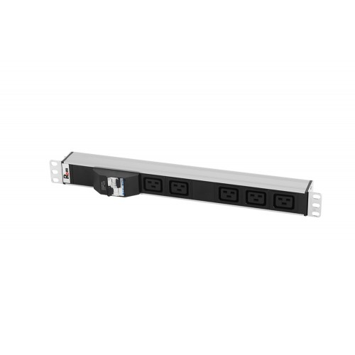 Блок розеток Rem-32 с авт., 5 IEC 60320 C19, 32 А, алюм., 19