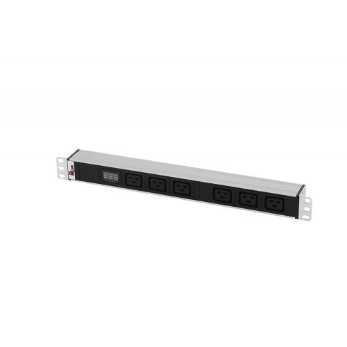 Блок розеток Rem-32 с амп., 6 IEC 60320 C19, 32 А, алюм., 19