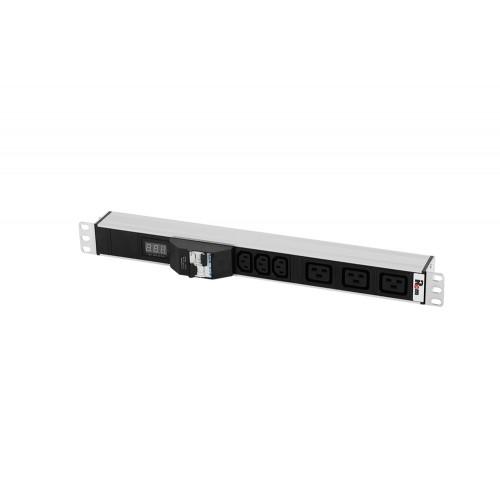 Блок розеток Rem-32 с авт., и амп., 3 IEC 60320 C13, 3 IEC 60320 C19, 32 А, алюм., 19