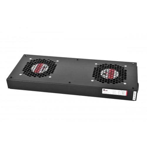 Вентиляторный модуль Rem R-FAN, 230V, 45х432х195 вентиляторов: 2, 86 дБ, поток: 300 м3/ч, для шкафов ШТК-М 600, 800, 1000, цвет: чёрный R-FAN-2J-9005