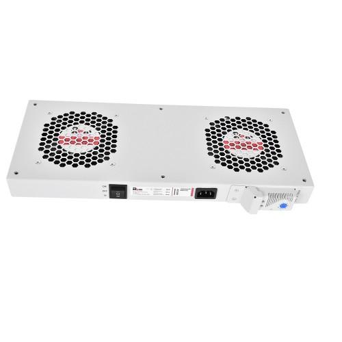 Вентиляторный модуль Rem R-FAN, 230V, 45х432х195 мм (ВхШхГ), вентиляторов: 2, 86 дБ, поток: 300 м3/ч, для шкафов ЦМО, Elbox, цвет: серый R-FAN-2T
