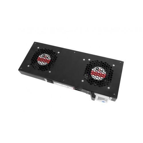 Вентиляторный модуль Rem R-FAN, 230V, 45х432х195 мм (ВхШхГ), вентиляторов: 2, 86 дБ, поток: 300 м3/ч, для шкафов ЦМО, Elbox, цвет: чёрный R-FAN-2T-900