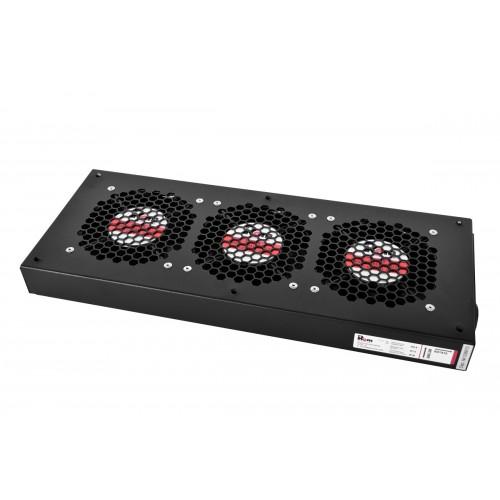 Вентиляторный модуль Rem R-FAN, 230V, 45х432х195, вентиляторов: 3, 130 дБ, поток: 450 м3/ч, для шкафов ШТК, ШРН, ШТВ, цвет: чёрный R-FAN-3J-9005
