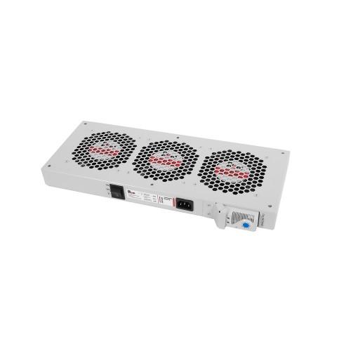 Вентиляторный модуль Rem R-FAN, 230V, 45х432х195 мм (ВхШхГ), вентиляторов: 3, 130 дБ, поток: 450 м3/ч, для шкафов ЦМО, Elbox, цвет: серый R-FAN-3T