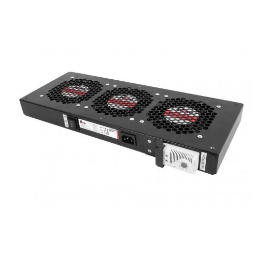 Вентиляторный модуль Rem R-FAN, 230V, 45х432х195 мм (ВхШхГ), вентиляторов: 3, 130 дБ, поток: 450 м3/ч, для шкафов ЦМО, Elbox, цвет: чёрный R-FAN-3T-90