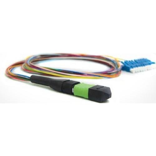Патч-корд оптический TopLan, 1хMPO(папа)/PC-12хLC/PC, 12 волокон 50/125 (OM4), 0,5 метра