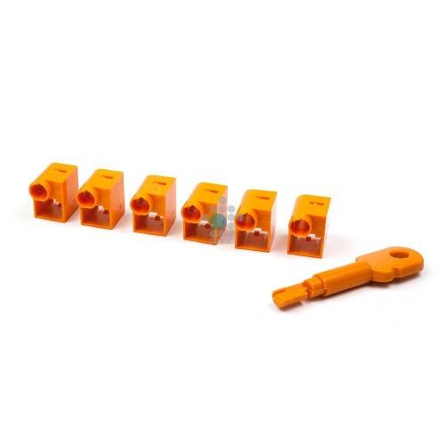 Комплект блокираторов коннектора RJ-45 (6 шт.) + ключ, оранжевый LANMASTER LAN-SEC45-CL-SET-OR