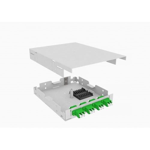 Кросс оптический, настенный, 8 LC/APC адаптеров, одномодовый, TopLAN, укомплектованный