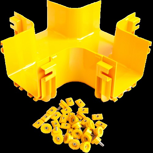 Х-соединитель оптического лотка 120 мм, монтаж без соединителей, желтый