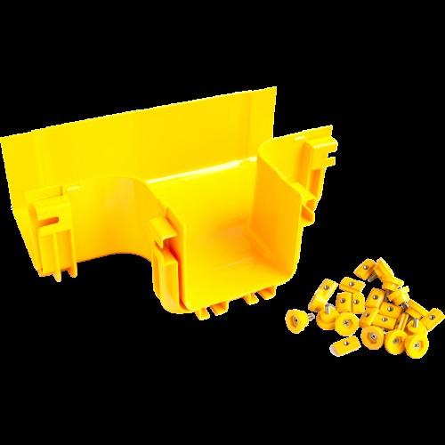 Т-соединитель оптического лотка 240 мм, монтаж без соединителей, желтый