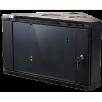 Шкаф настенный угловой, 6U 600x430, стеклянная дверь, черный