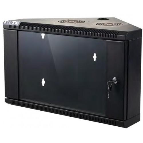 Шкаф настенный угловой, 9U 600x430, стеклянная дверь, черный
