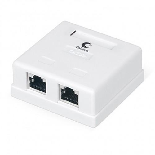 Cabeus WS-8P8C-Cat.5e-SH-2 Розетка компьютерная RJ-45(8P8C), категория 5e, экранированная, двойная, внешняя, Dual IDC