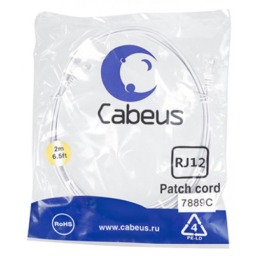 Cabeus PC-TEL-RJ12-2m Патч-корд телефонный 2х6р4с, белый, PVC, 2 м