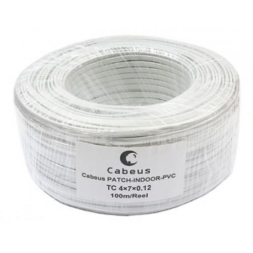 Cabeus TC 4x7x0.12-PATCH-INDOOR-PVC Кабель телефонный, плоский, 4 провода, многожильный, белый (100м)