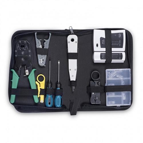 Cabeus HT-TK-01 Набор инструментов (инструмент обжимной, инструмент для заделки витой пары , зачистки, отвертки, тестер, коннекторы )