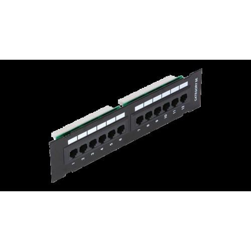 Коммутационная панель NETLAN настенная, 12 портов, Кат.5e (Класс D), 100МГц, RJ45/8P8C, 110, T568A/B, неэкранированная, черная