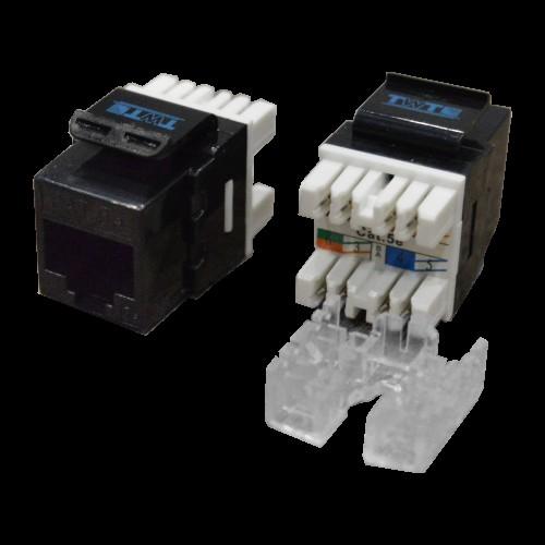 Модуль Keystone RJ45, кат.5e, UTP, 180 градусов, черный, TWT-OK45UTP180/5E-BK