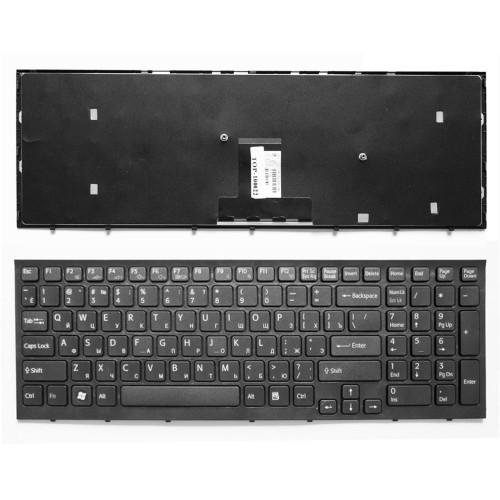 Клавиатура для ноутбука Sony Vaio VPC-EB Series. Плоский Enter. Черная, с черной рамкой. PN: 148792871.