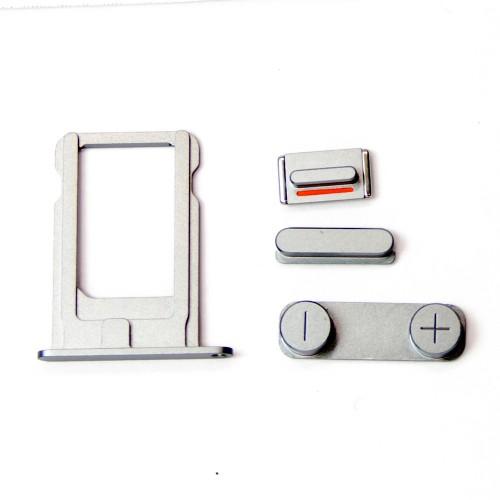 Комплект кнопок и лоток под sim-карту для iPhone 5, стальной.