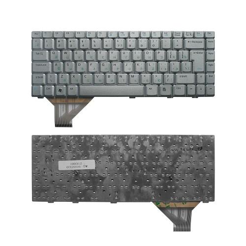 Клавиатура для ноутбука Asus A8, F8, N80, N81A, W3, Z99 Series. Г-образный Enter. Серебристая, без рамки. PN: 0KN0-712US01, 04-NAA1KRUS1.
