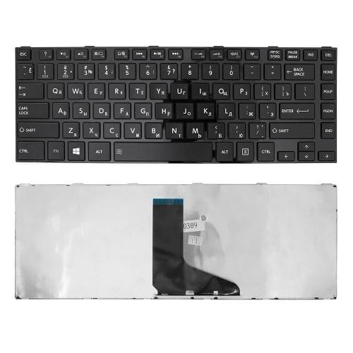 Клавиатура для ноутбука Toshiba Satellite C840, L830, L840, M845 Series. Плоский Enter. Черная, с черной рамкой. PN: 9Z.N7SSQ.001, AEBY3700120.