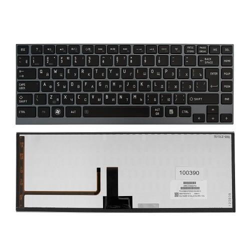 Клавиатура для ноутбука Toshiba Satellite M800, N860, U800 Series. Г-образный Enter. Черная, с серой рамкой. С подсветкой. PN: AEBU6700020-RU.