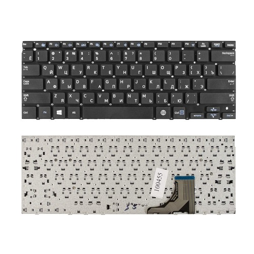 Клавиатура для ноутбука Samsung NP530U3C, NP535U3C, NP530U3B, 530U3B, 530U3C Series. Плоский Enter. Черная, без рамки. PN: BA59-03254D.