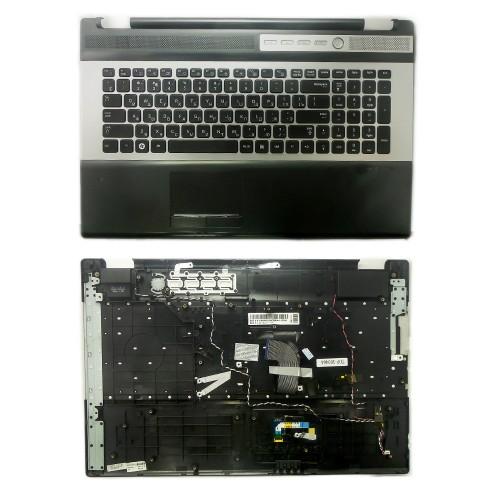 Клавиатура для ноутбука Samsung RC730, NP-RC730-S01RU Series. Плоский Enter. Черная, c топкейсом. PN: 9Z.N6ASN.00R.