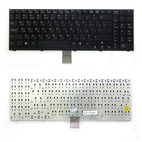 Клавиатура для ноутбука DNS 0116103, Clevo D900, D27, D470, M590, D70 Series. Плоский Enter. Черная, без рамки. PN: MP-03753SU-4304, 80-M57A0-280-1.
