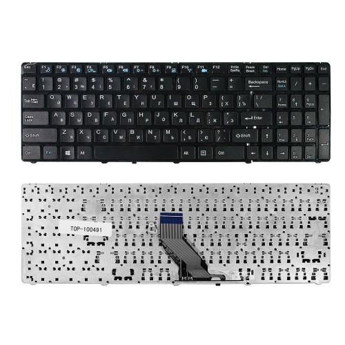 Клавиатура для ноутбука DNS 0157894, 0157896, MT50 Series. Плоский Enter. Черная, с черной рамкой. PN: MP-09Q36SU-360.