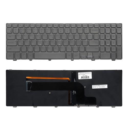 Клавиатура для ноутбука Dell Inspiron15-7000, 15-7537 Series. Плоский Enter. Серебристая, с серебристой рамкой. С подсветкой. PN: V143625AS1.