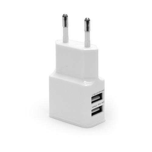 Ультракомпактное зарядное устройство с двумя USB портами для зарядки Apple iPhone, iPad, Samsung Galaxy, Xiaomi, Huawei, Sony. Замена: EP-TA20. Белое.