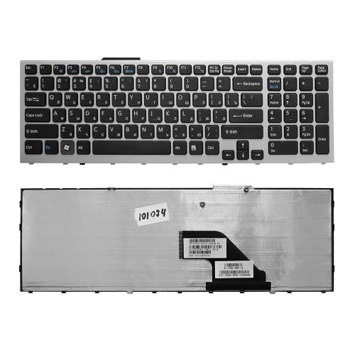 Клавиатура для ноутбука Sony Vaio VPC-F11, VPC-F12, VPC-F13 Series. Плоский Enter. Черная, с серебристой рамкой. PN: 148781561, 9Z.N3S82.201.